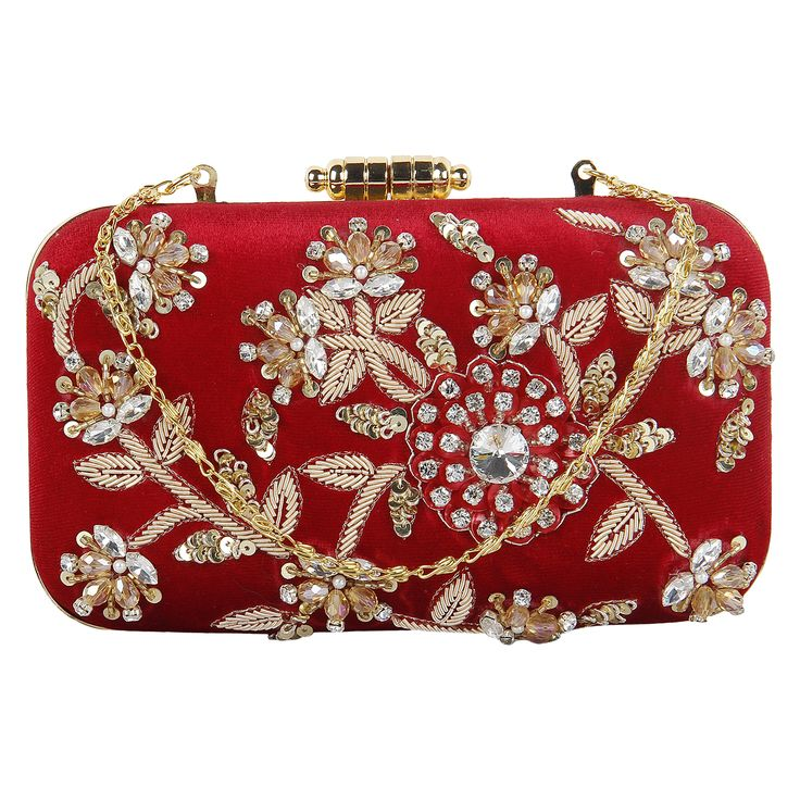 Exquisite work has been handcrafted on this clutch purse with golden threads of different kinds . Ideal for special occasions as it is a unique piece. These are handcrafted  products so any imperfections should be taken as normal.Visit www.saashiwear.com for exclusive collection of indian handcrafted products