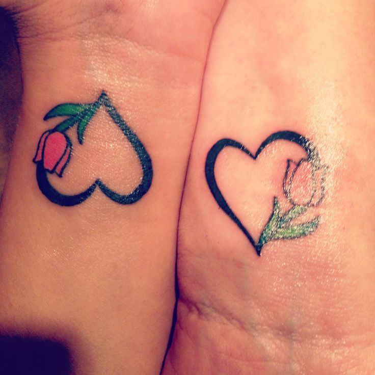 Matching mother daughter tattoo Tulip for being Dutch