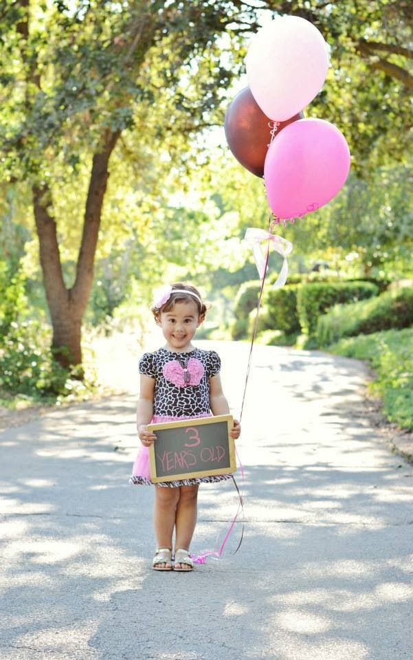 Happy Birthday, girl! Three years old. Third 3 little kid child children portrait photography balloons toddler