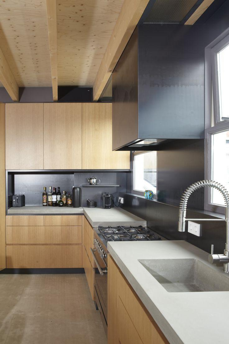 Keuken Op Maat Amsterdam : in blanke lak, betonnen bladen op maat, betonnen spoelbak op maat