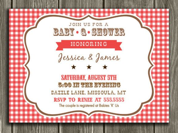 printable baby q baby shower invitation