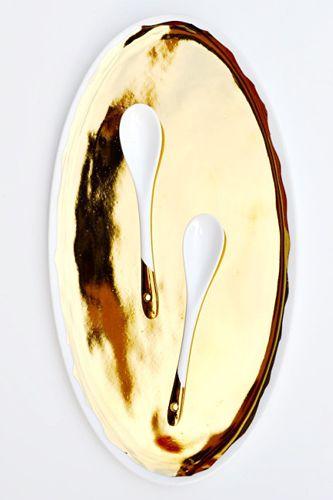 Leif Shop Gold Glazed Porcelain Platter, $38, available at Leif Shop.