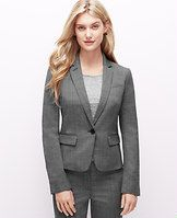 """Birdseye One Button Jacket - Suit up: usher in the season with our birdseye weave jacket, finished with sleeves that can be rolled to reveal striped contrast lining. Wear it head-to-toe for days at the office or with dressed up denim for weekends out. Notched lapel with button hole trim. Long sleeves with functional sleeve buttons for added styling options. One-button front. Angled welt chest pocket. Front flap besom pockets. Back vent. Lined. 22"""" long."""
