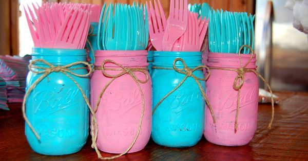 DIY Painted mason jars for a gender reveal party. | Rowdy Little Buck or Fancy Little Doe Gender Reveal Party | Pinterest | Jars, Reveal parties and Mason jars