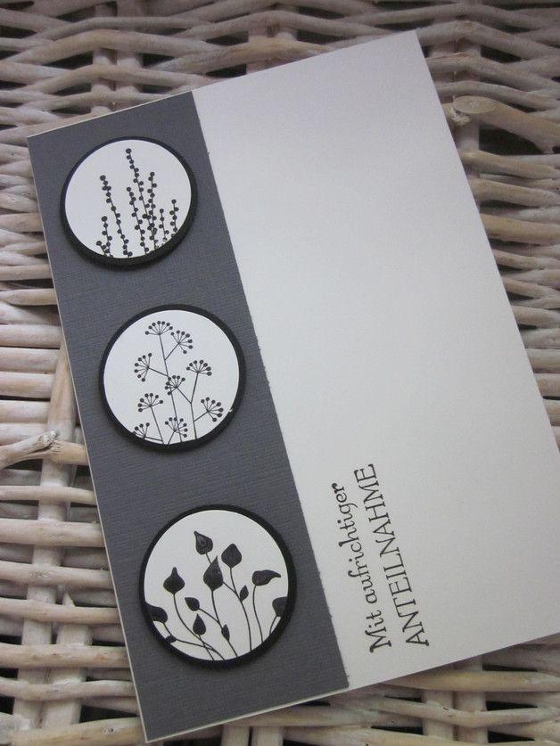 Trauer & Beileid - Schlichte Trauerkarte mit Schattenbildern - ein Designerstück von stampinwithfanny bei DaWanda