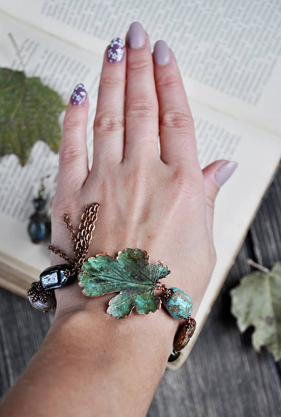 Mulberry leaf bracelet electroformed leaves nature jewelry