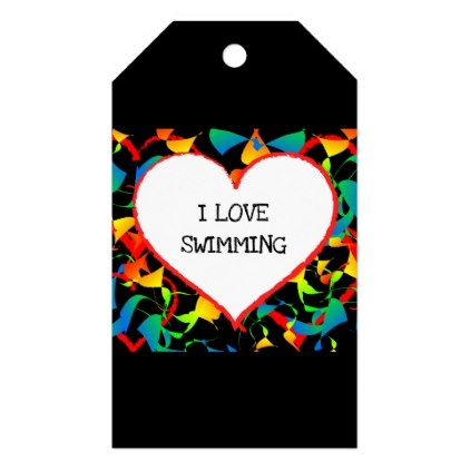 I Love Swimming Sports Editable Modern Abstract Gift Tags - craft supplies diy custom design supply special