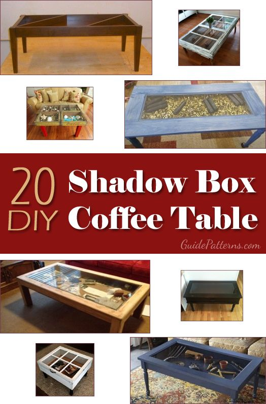 "20 DIY Shadow Box Coffee Tables - This is the solution I came up with for my roses from Nationals. But mine is going to be a sofa console table to go against the exposed end of my sectional so it's going to be at least 96"" long which means I can maybe fit in all of my big wins in there and I'll have somewhere for my trophy that has been in the box for years."