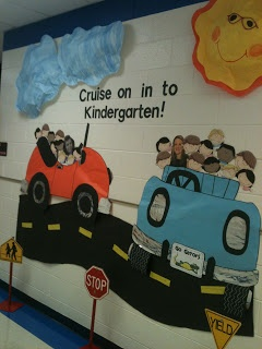 "Cruise on In to Kindergarten ""back to school"" hall display idea!"