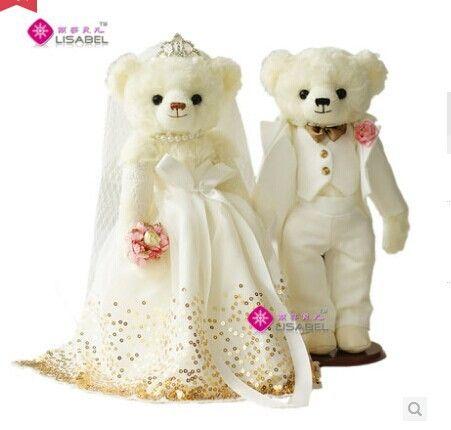 Около 35 см свадебные медведи белый длинная юбка платье с золотыми пайетками и белые костюмы свадебные медведи, предложение, свадебный подарок t6875