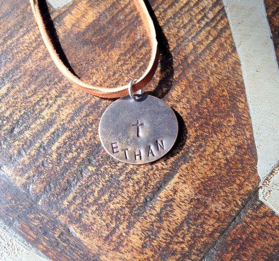 Boys Handstamped Necklace Boys Cross Necklace by BlueEyedJewelsTX, $16.00