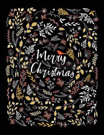 fleur peinture: Joyeux Noël salutations d'illustration vectorielle. Feuilles coloré et la conception de l'herbe, le nouveau cadre de la carte de bonne année. 2016 salutation saisonnière