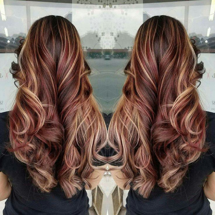 Red hair, brown hair, blonde highlights, Burgundy hair color, fall hair, long hair, curls  #vistabellesalon