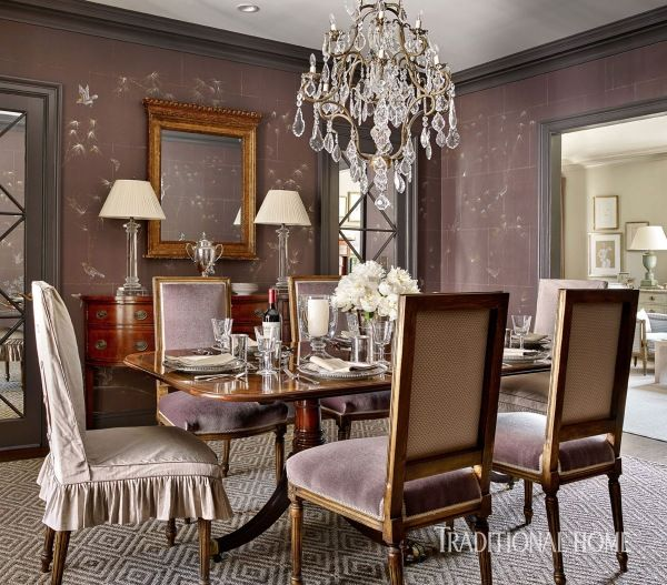 Mirrored Doors Keep The Plum Dining Room Feeling Airy