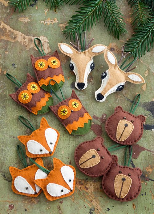 Felt Ornaments with Pattern         Rustic Wood Ornaments         Cupcake liner owl ornament         Glitter owl Christmas ornamen...