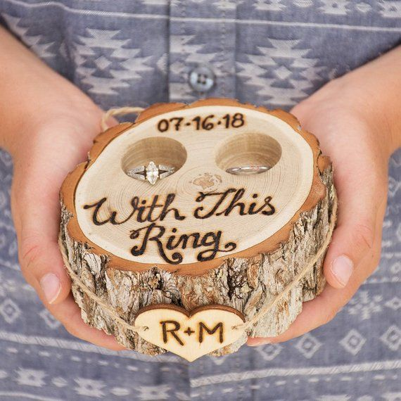Rustic Ring Box Tree Stump Ring Bearer Pillow Alternative With This Ring Engraved By Hand Personalized Ring Bearer Box Ring Holder Wedding Rings
