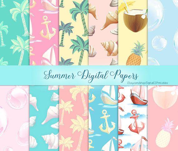 Summer digital paper summer Nautical digital paper nautical Digital scrapbook paper 12x12 Anchor digital paper commercial use Pastel paper by DigitalCSPrintables