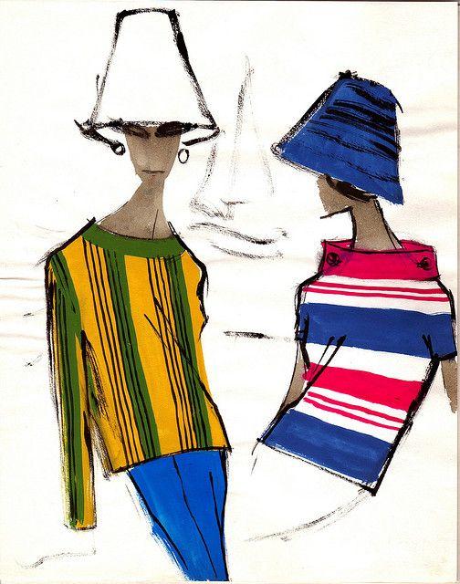 1960s fashion illustration,