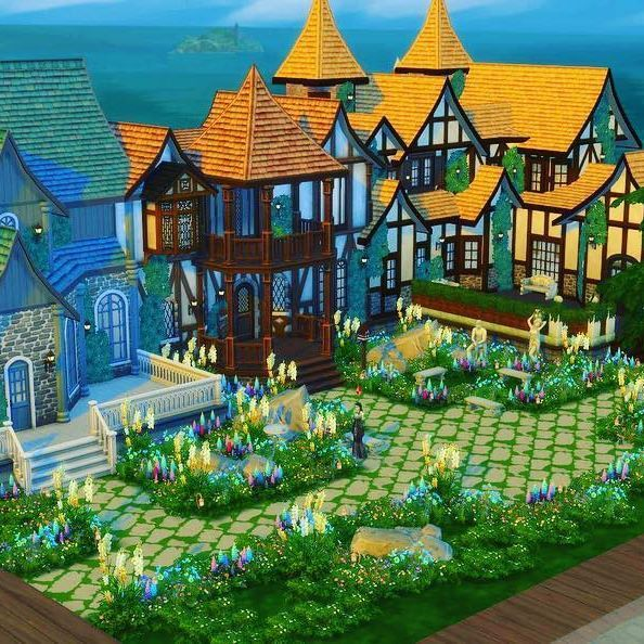 New build! Mystical Plaza. All I need is to furnish each cafe/bakery and it'll be up on @thesims gallery.  This is my biggest build to date and I'm so happy with how it turned out, also only took me half the time the others have been taking. #restaurant #thesims4 #cafe #bakery #pretty