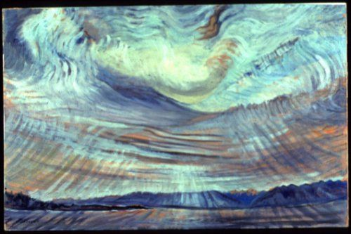 Sky, 1935-1936 [flipped, colour variation]. oil on wove paper. Emily Carr.