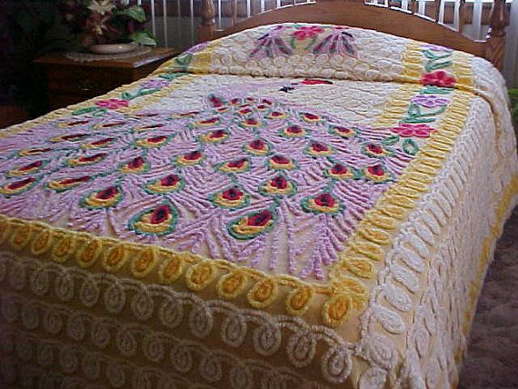 Brightly colored  chenille bedspread with large lilac by designer2, $239.00