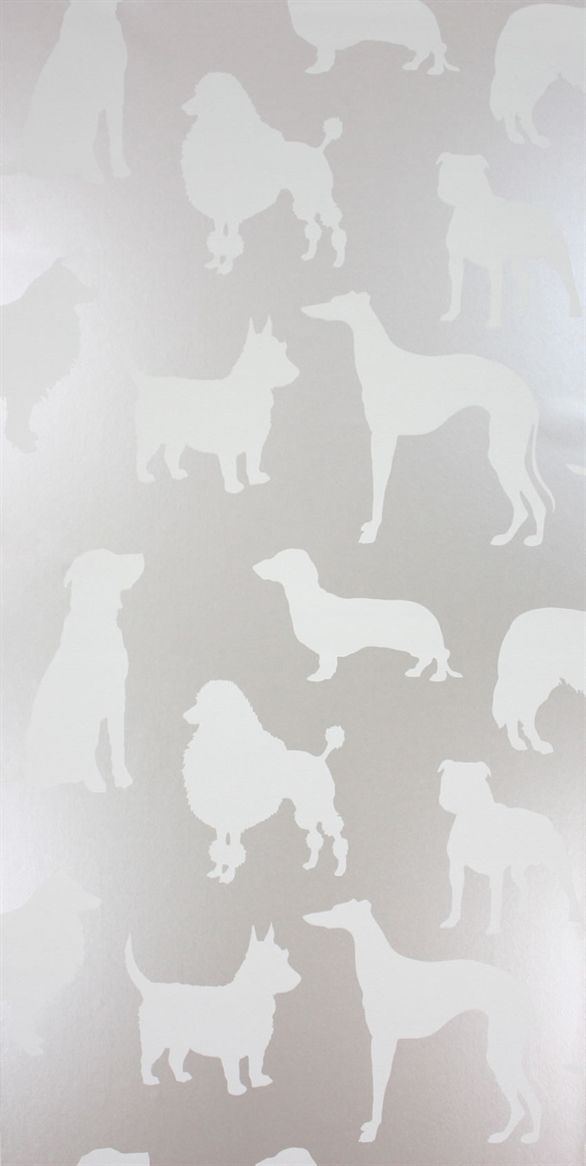 Osborne & Little: W6181-01, dog wallpaper for the hall bath , so cool!