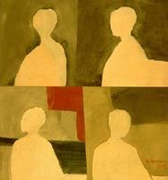 Four Figures in Silhouette, 1964, Richard Ciccimarra, tempera on paper, mounted on plywood, 86.2 x 81.3 cm., Victoria, British Columbia, Canada.