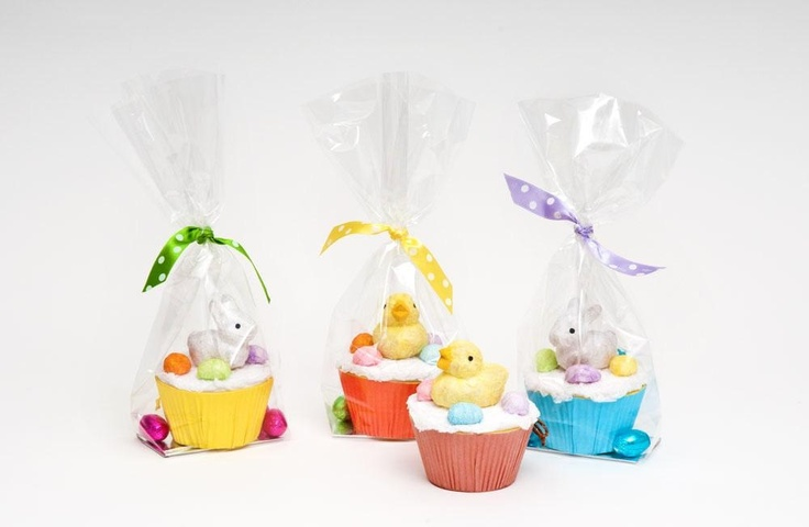 These cute paper mâché Easter cupcakes make great gifts for friends and family.  Presented in cello bags tied with polka dot ribbons with chocolates eggs.  £5.99 each, order online from the Fuschia Boutique at www.fuschiadesigns.co.uk.