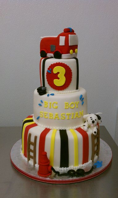 Little Firefighter birthday Theme Cake by Little Sugar Bake Shop, via Flickr