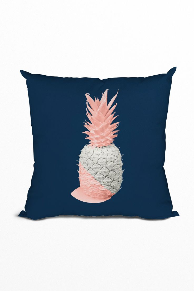 Click to get this beautiful royal blue and blush pink pineapple pillow ❤️ It'll create a gorgeous accent in your living room. #decor #pillow #royalblue #blushpink #livingroom #pineapple