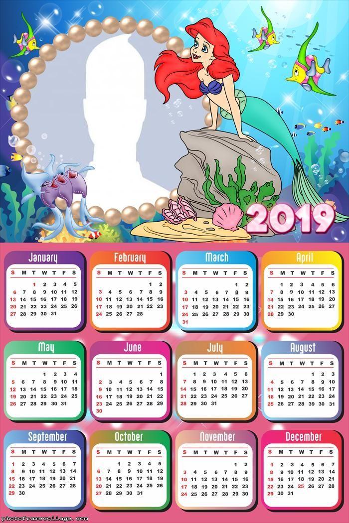 ariel little mermaid calendar 2019 frame photo montage