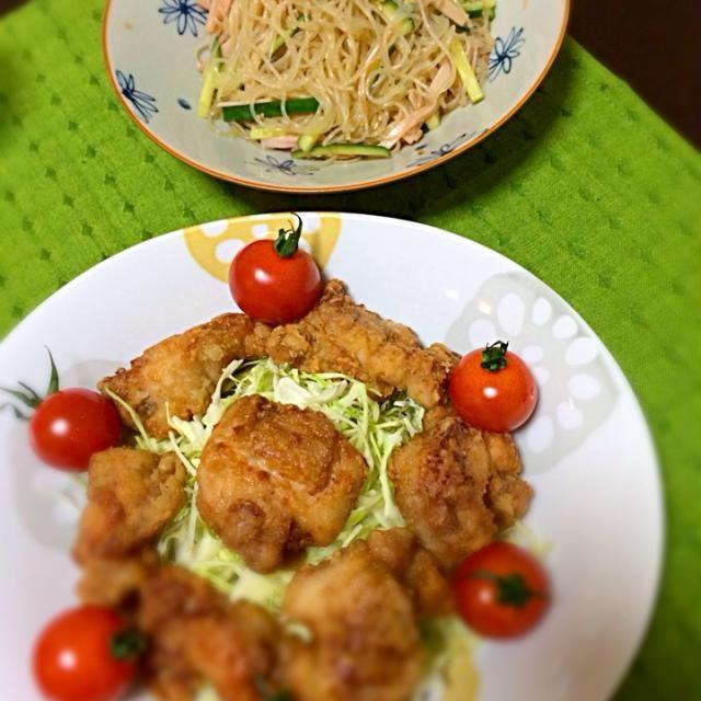 ♡初手料理♡ - 2件のもぐもぐ - からあげ*春雨サラダ by kazueanazaiex