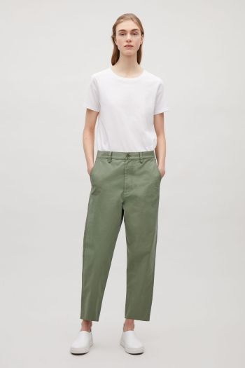 COS image 1 of Relaxed cotton chinos in Green