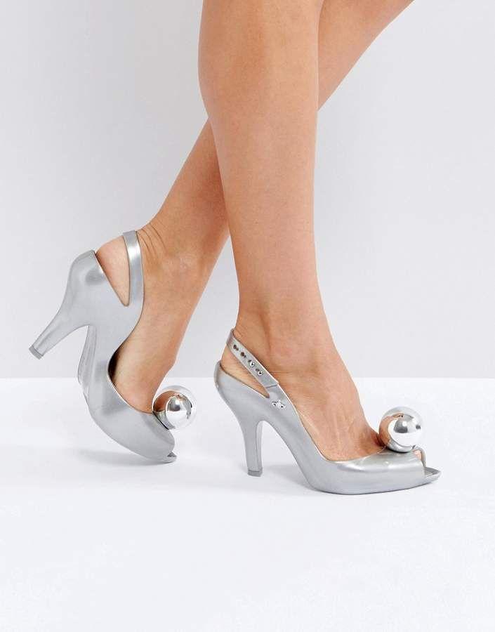 Vivienne Westwood For Melissa Vivienne Westwood For Melissa Lady Dragon Absatzschuhe Mit Silberfarbenem K Silver Strappy Shoes Silver High Heel Shoes Heels