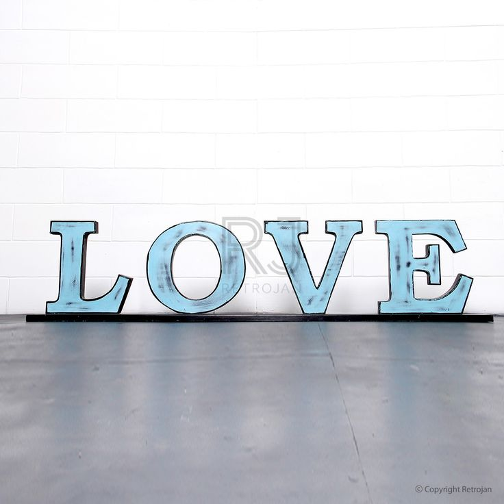 'LOVE'  Retro Iron Feature Letters - Blue / Black | $99.00