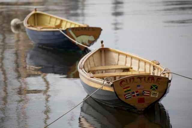 nautical art, 2 wooden boats, wall art, blue, weather worn, 8x12 fine art photograph. $30.00, via Etsy.