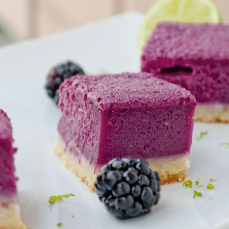 Blackberry Lime Bars... How pretty are these?  And such a refreshing summer treat!
