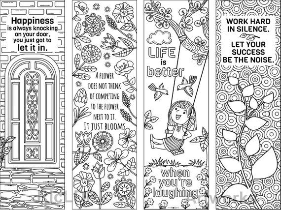 Set Of 8 Coloring Bookmarks With Feel Good Quotes Cute Bookmark