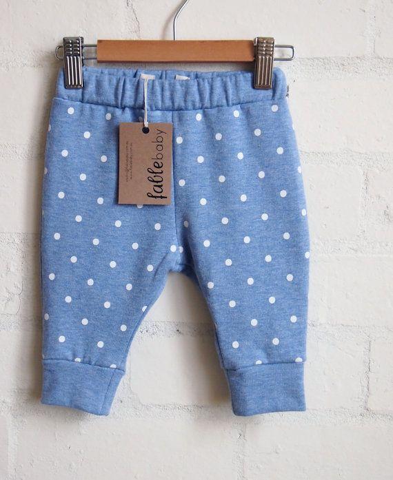 Handmade Unisex Cotton Spot Sweat Pants - White Spots on Blue