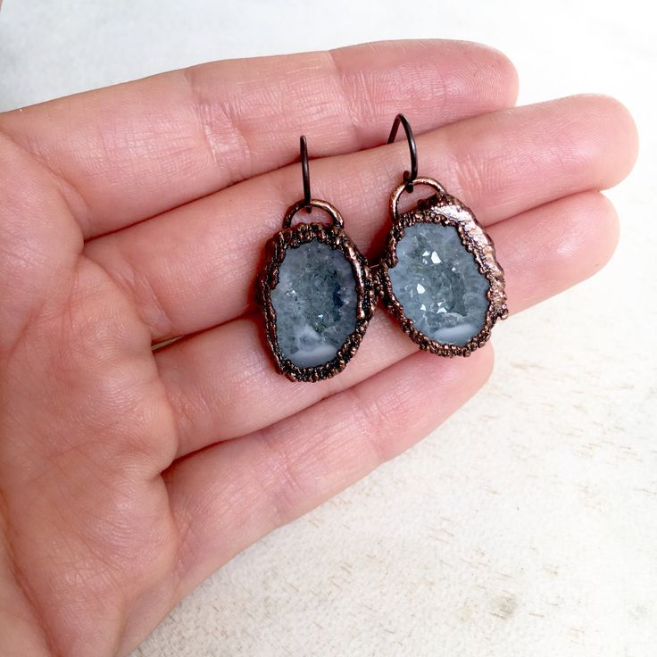 Grey druzy mini geodes • earrings | electroformed crystal jewellery