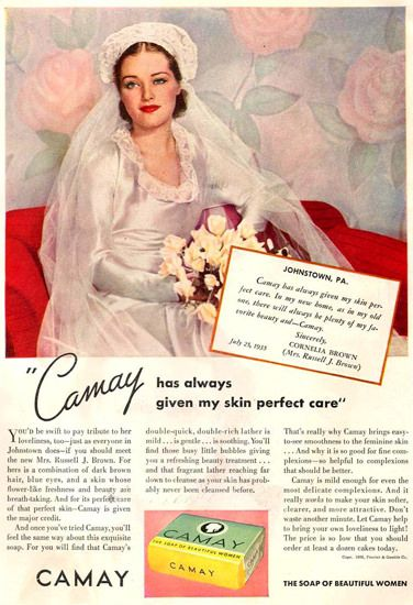 Camay Soap Bride Cornelia Brown 1936 - Vintage Advertisement