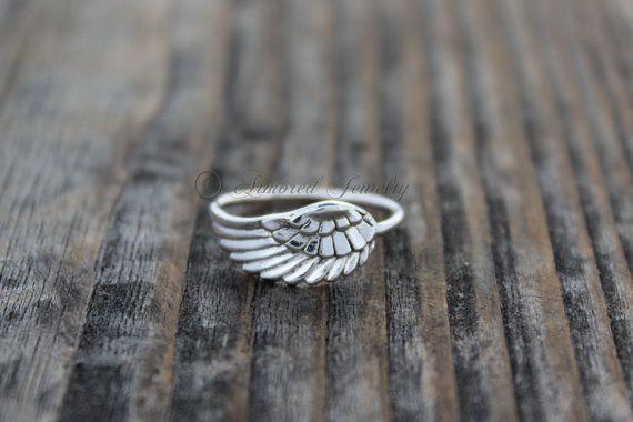 Angel Wing anillo 5  Angel de plata de ley pluma ala  madre