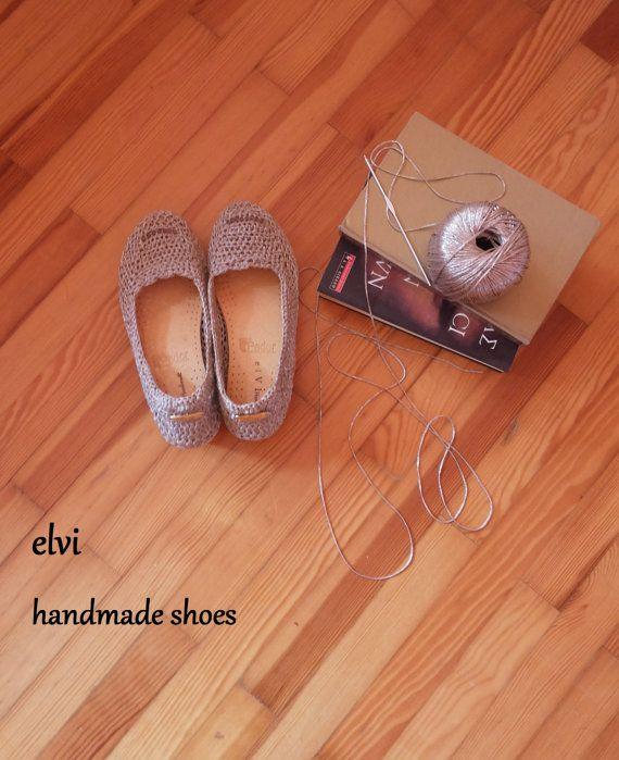 Silver platform shoes, cork shoes, platform shoes, crochet shoes, elvihandmade,Handmade women shoes,  beige crochet shoes, handmade shoes