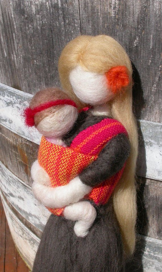 Needle Felted Babywearing Mother with Baby Girl by radishwoolworks, $45.00