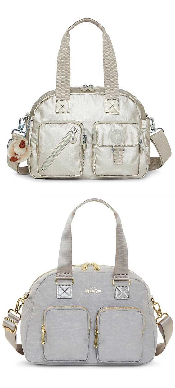 Kipling Defea Crossbody Bag - Best Travel Top-Handle Shoulder Bag #Kipling #Top-Handle #Bag #Tote #ShoulderBag #Crossbody #Travel #Grey #White