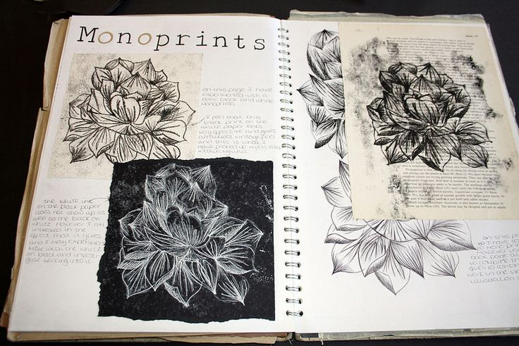 Art Sketchbook - an exploration of natural form through mono printing; art…