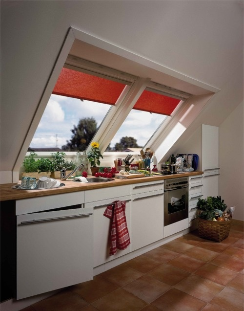 #blinds #velux #kitchen http://www.blindsuk.net/velux/original-red-roller.html