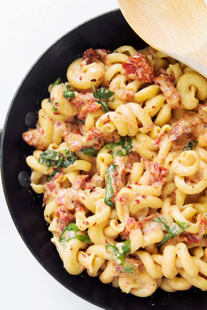 Creamy Sun Dried Tomato and Basil Pasta is dairy free! See how easy it is to have a delicious dinner on the table in less than 30 minutes!