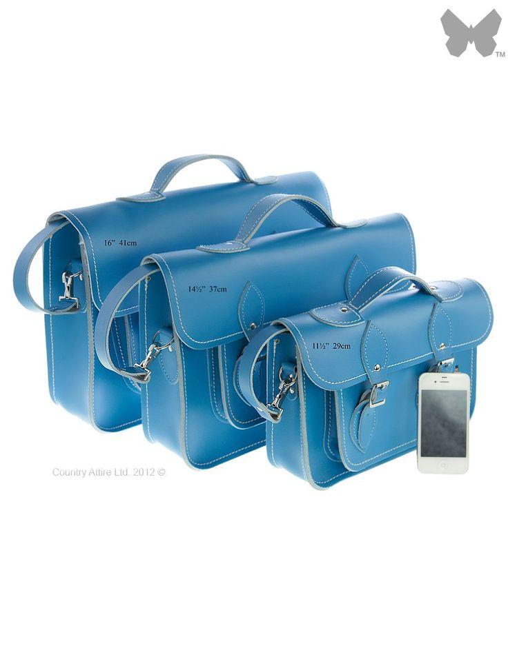 Zatchels Leather Satchel - Pastel Cornflower Blue | Country Attire