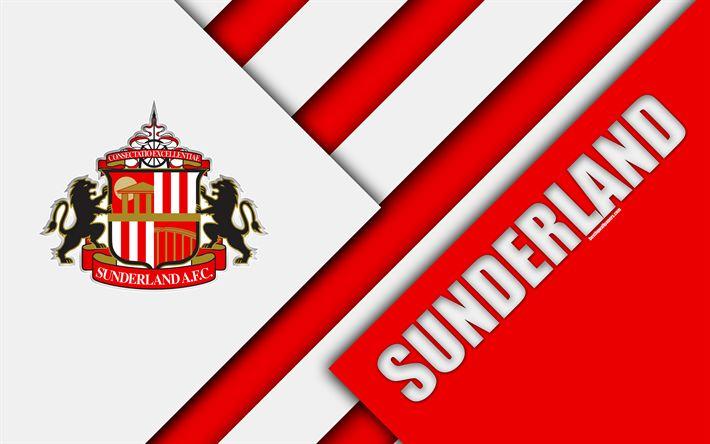 Download wallpapers Sunderland FC, logo, 4k, red white abstraction, material design, English football club, Sunderland, England, UK, football, EFL Championship
